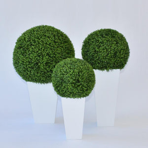 faux hedge spheres on planters