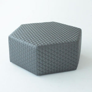 hex ottoman in gray dimension performance fabric