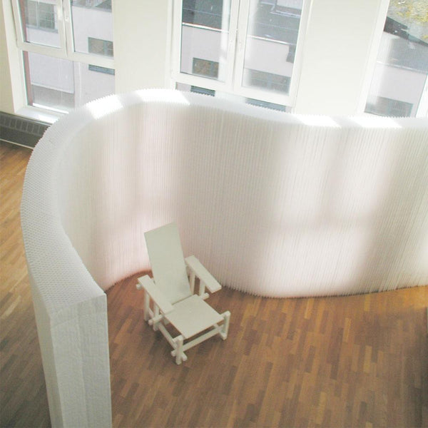white softwall divider from above