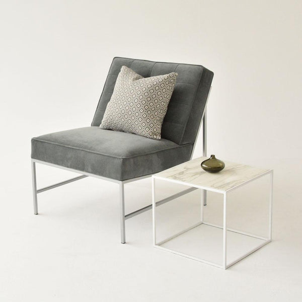 Aston chair gray with side table and pillow