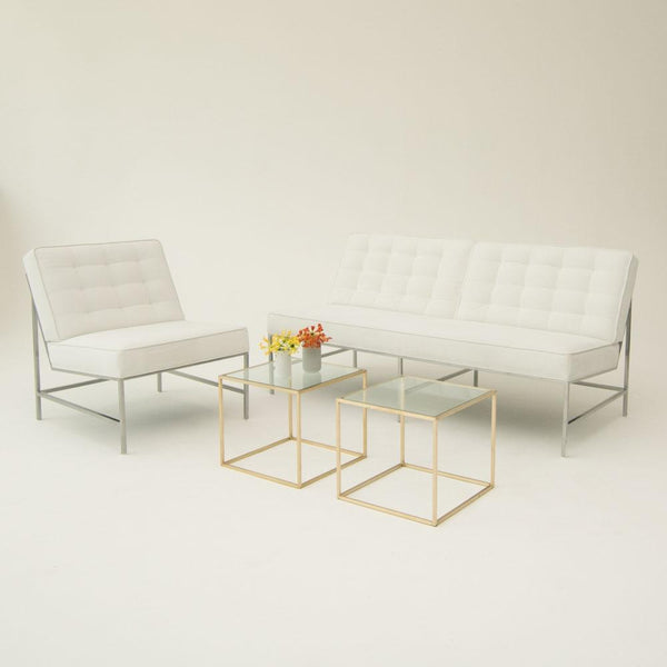 Aston Sofa & Chair White with side tables