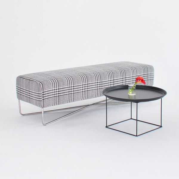 Balance Bench Plaid with coffee table