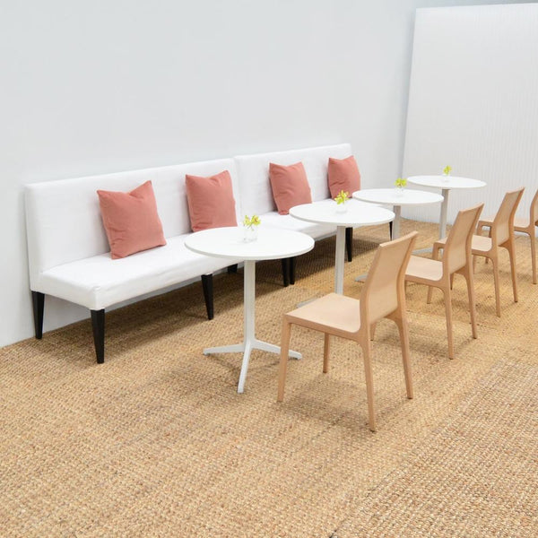 cafe tables with soft seating