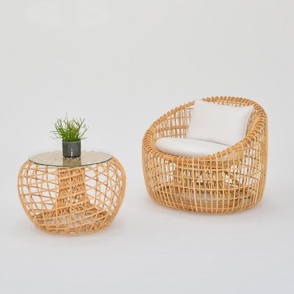cane lounge chair with cane side table