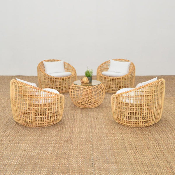 cane lounge chairs with cane side table
