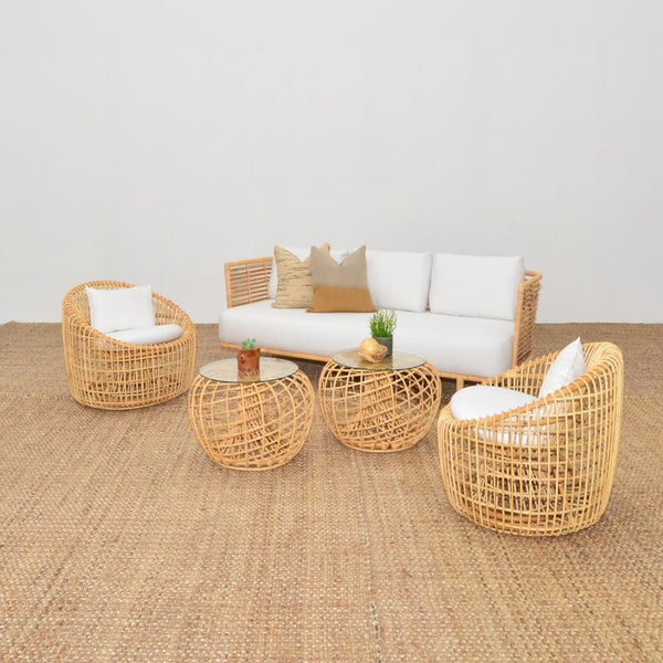 cane sofa with cane chairs and sides