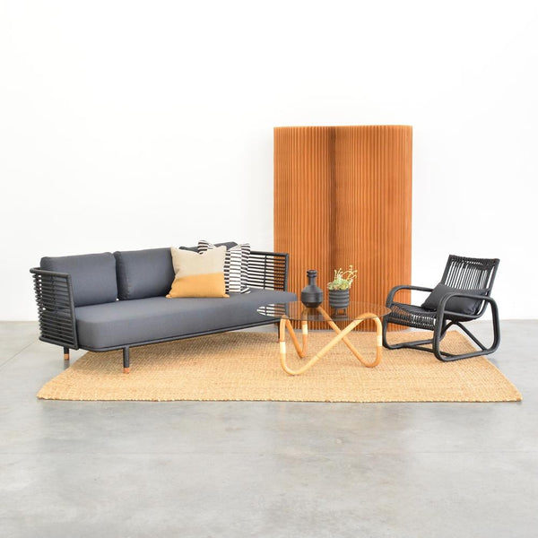 cane sofa black with natural wave coffee