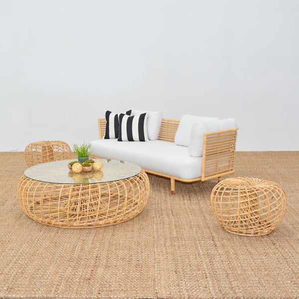 cane sofa natural with cane tables