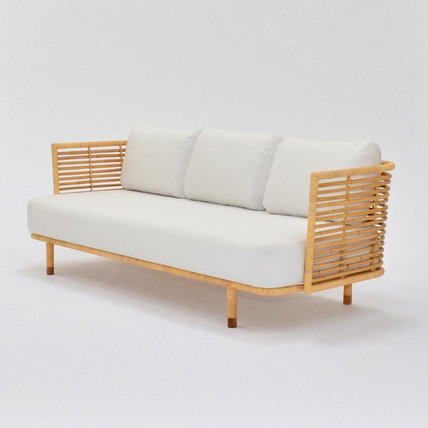 cane sofa natural with white upholstery