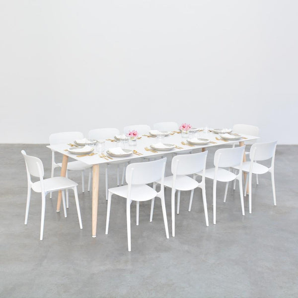 casa table with white harper chairs