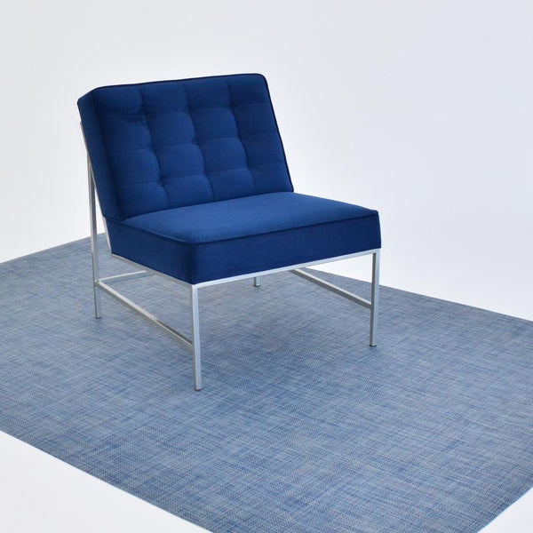 chilewich denim floor mat with blue aston chair