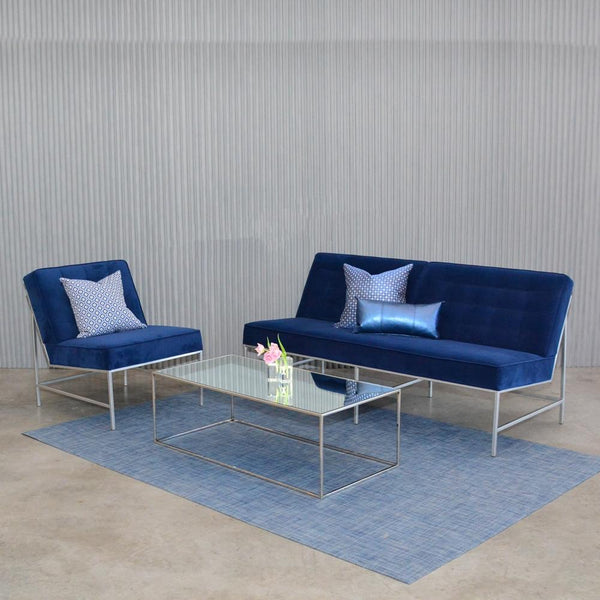chilewich denim floor mat with blue aston seating