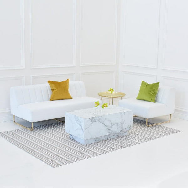 chilewich heddle pebble floor mat with aston white seating