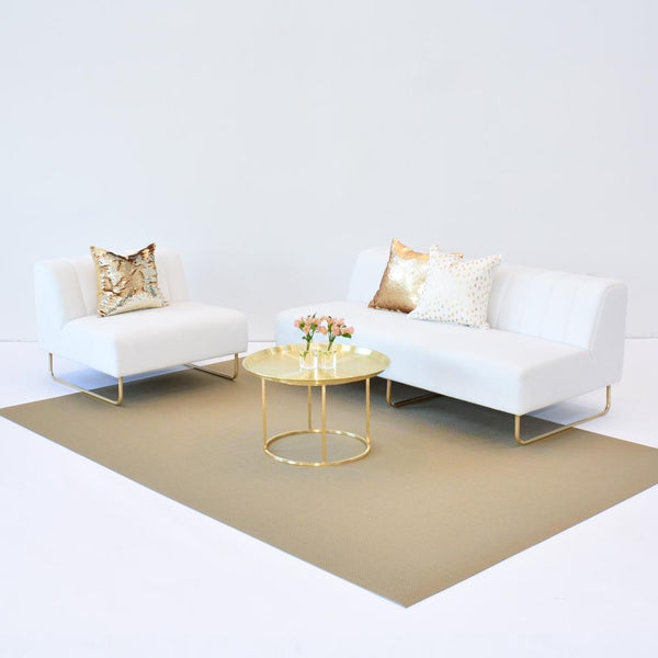 chilewich new gold floor mat with aston white seating