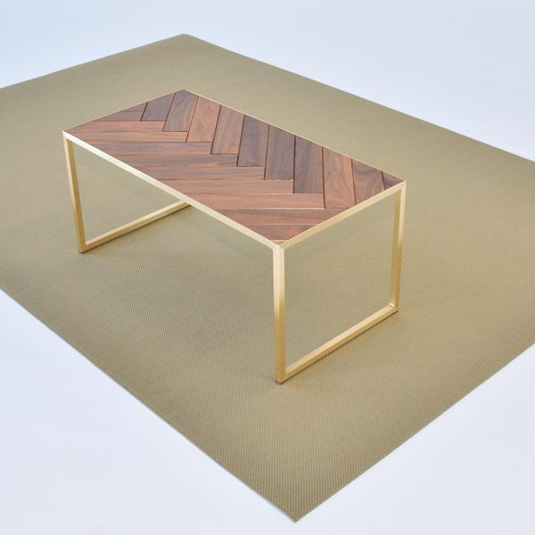 chilewich new gold floor mat with mayfair table