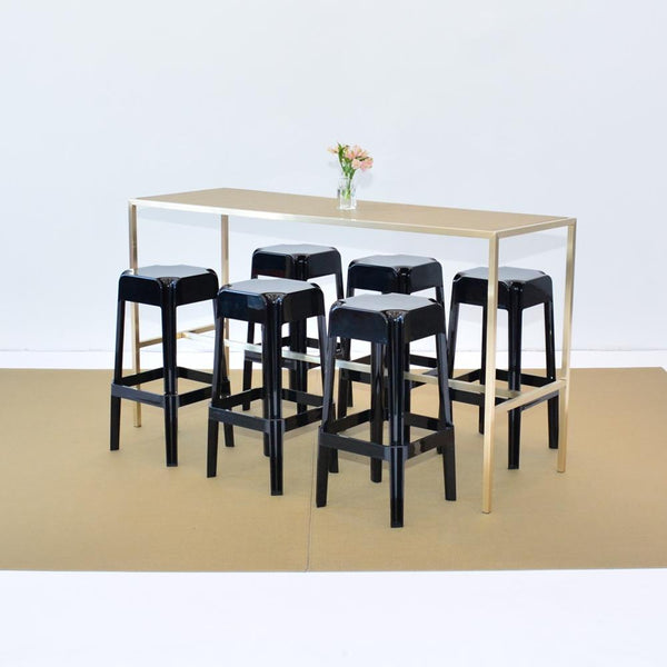 chilewich new gold floor mat with communal table and stools