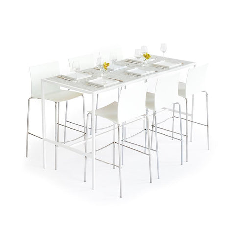 Communal Table White with White/Silver Top