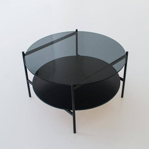 edition coffee table black overhead view