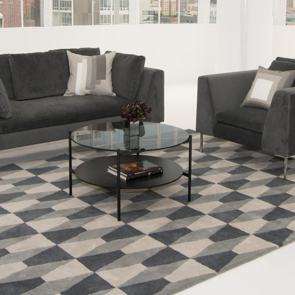 edition coffee table black with gray seating
