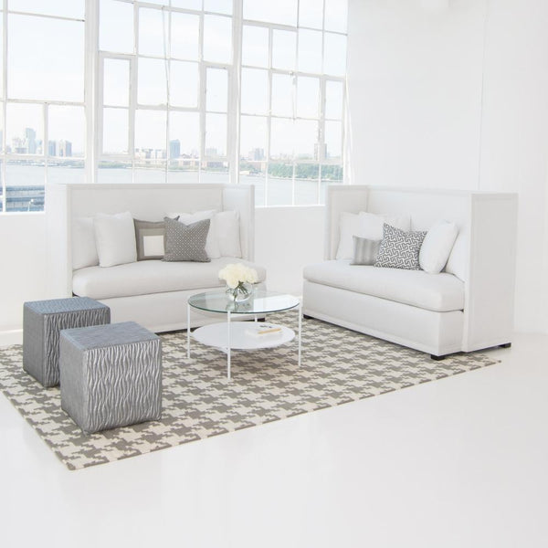 edition coffee table white with white seating
