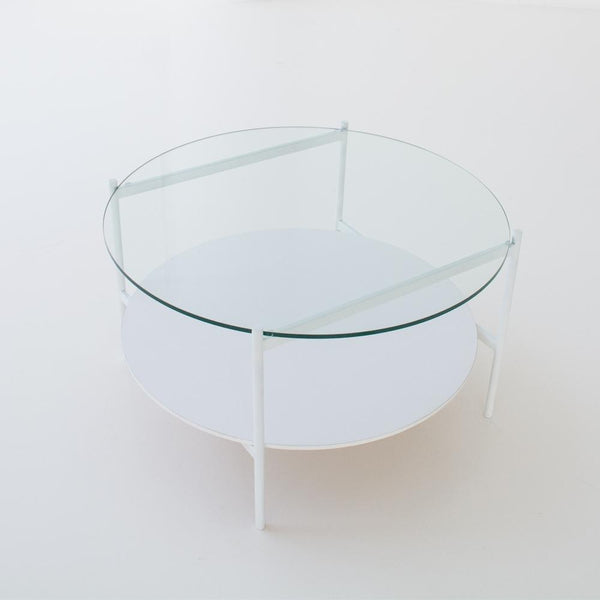edition coffee table white overhead view