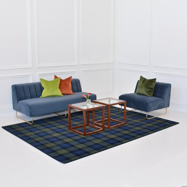 gunn modern area rug with savile gray seating