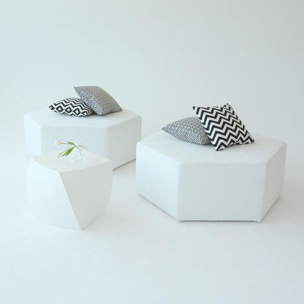 hex ottoman white with pillows