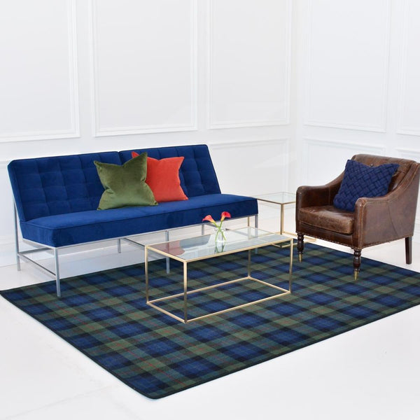 maxwell rectangle coffee table with aston sofa blue