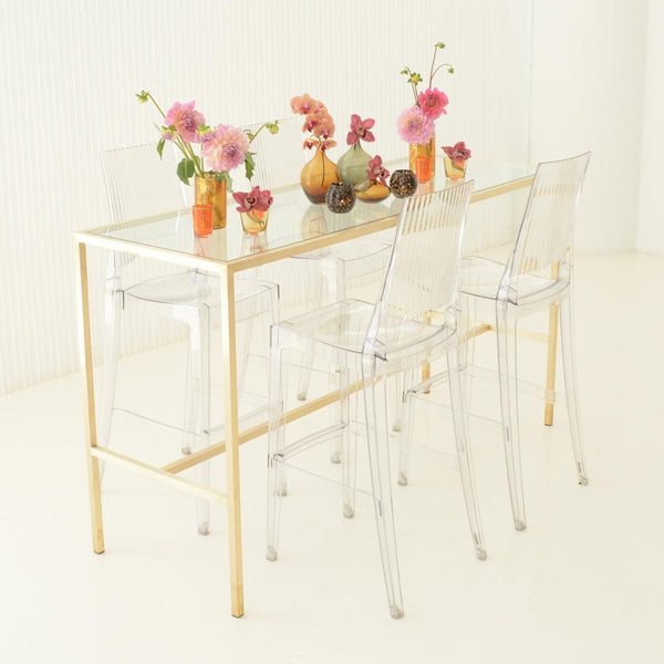 Maxwell Runner table with clear stools