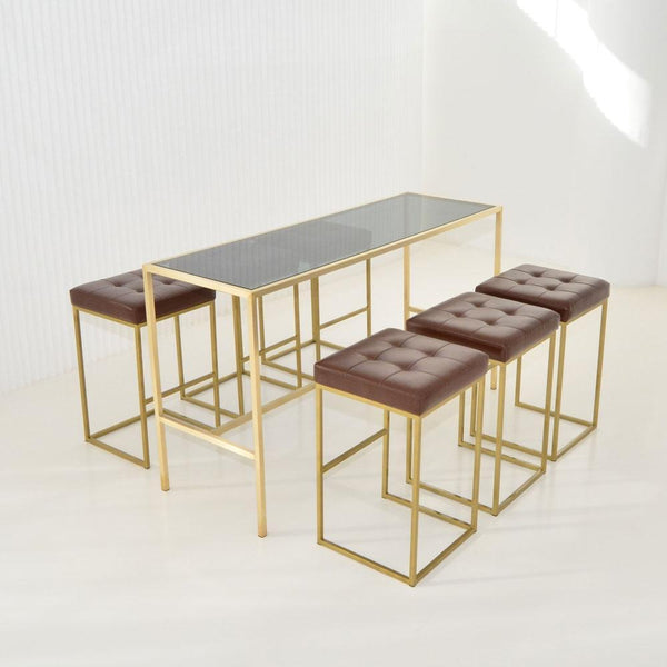Maxwell runner smoke glass with brown stools