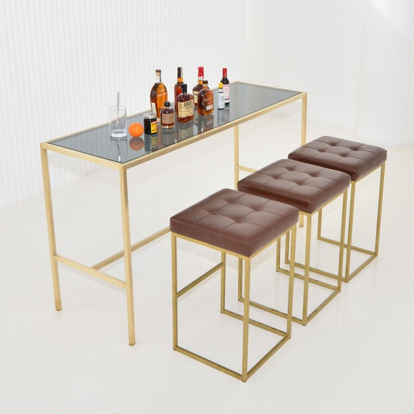 Maxwell Runner table in smoke glass as bar top