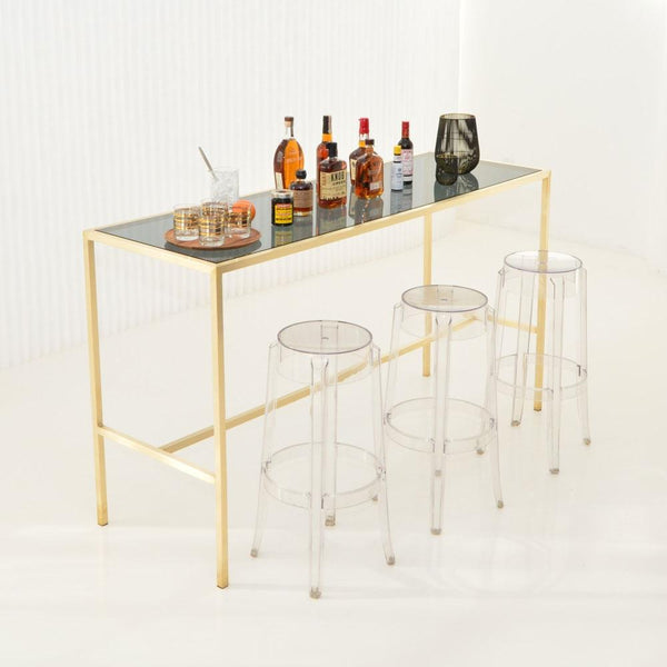 maxwell runner table smoke glass top with clear stools