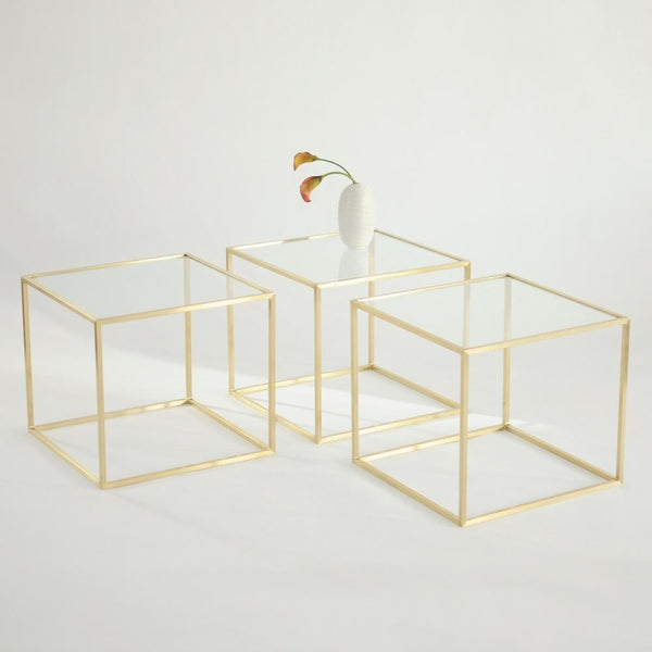3 maxwell square side tables with clear glass