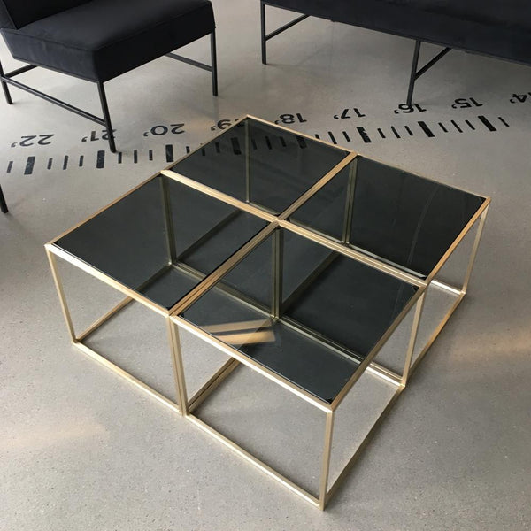 grouping of maxwell square side table smoke glass