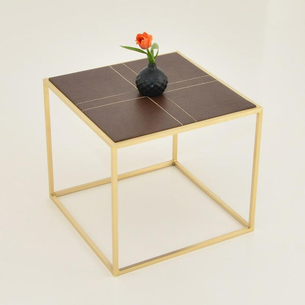 maxwell square side table leather top