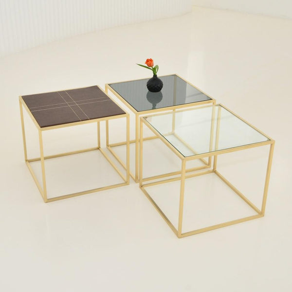 maxwell square side table - clear glass, smoke glass, leather top