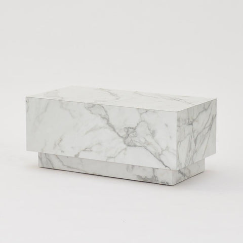 plinth table faux white marble