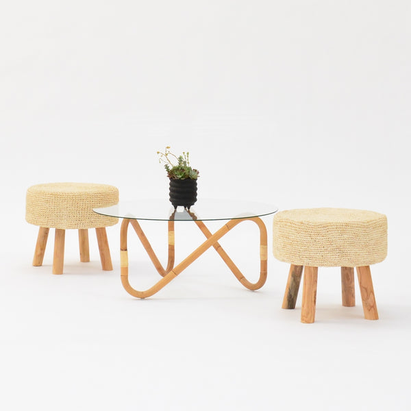 bali stools with cane table