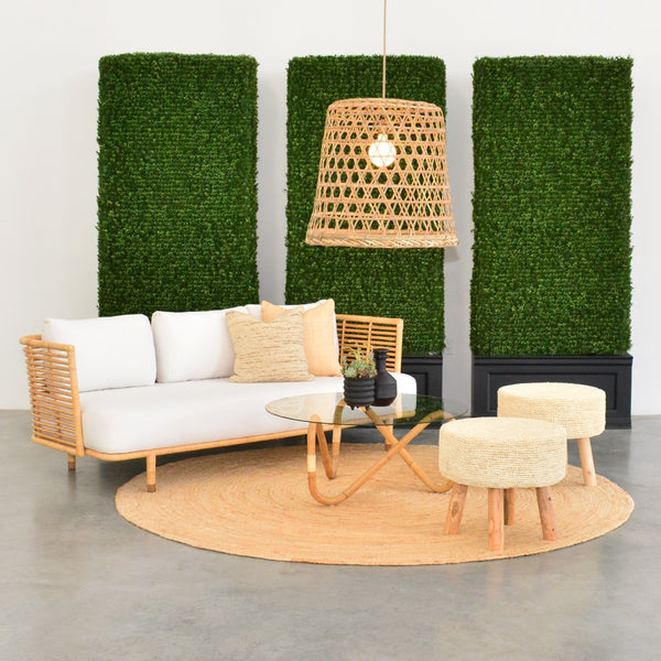 bali stools with cane sofa