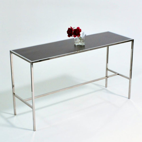Chrome Runner Table with Black top front view