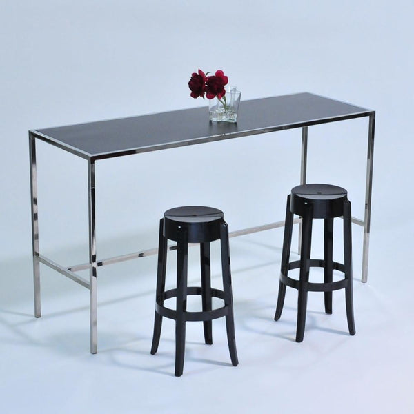 Chrome Runner Table with Black top with black stools