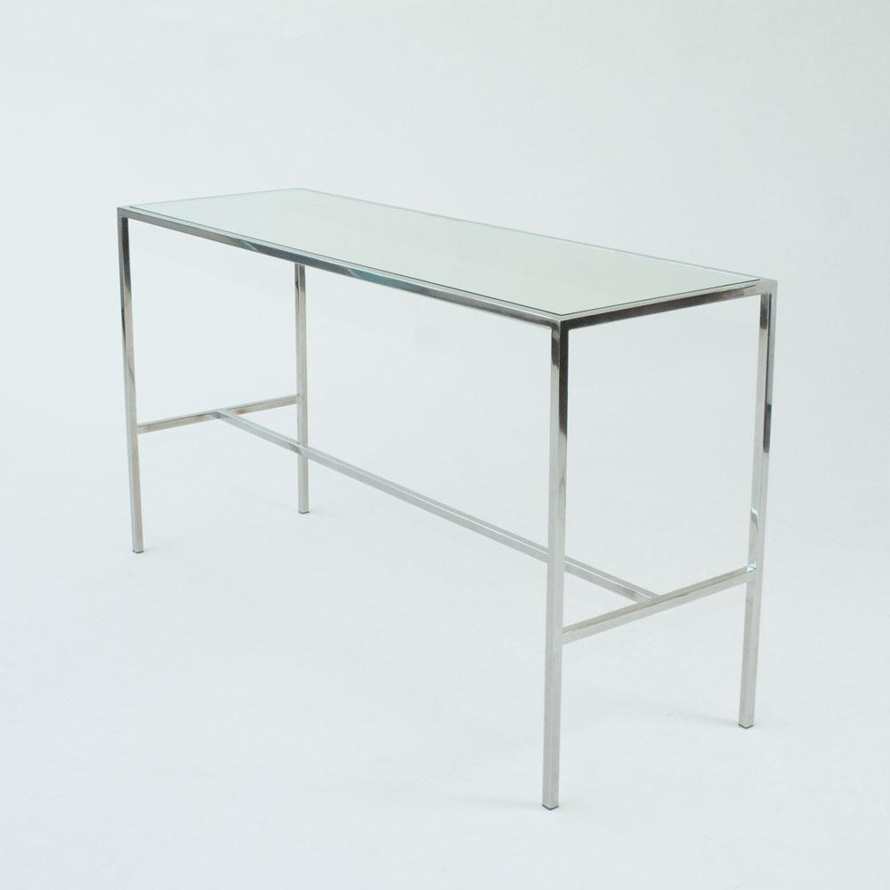 Chrome Runner Table with Mirror top side view