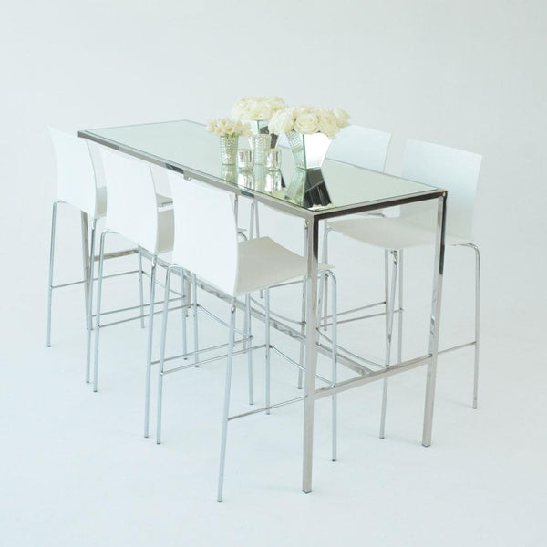 Chrome Runner Table with Mirror top with white stools