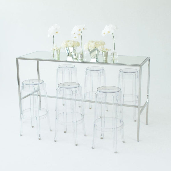 Chrome Runner Table with Mirror top with clear stools