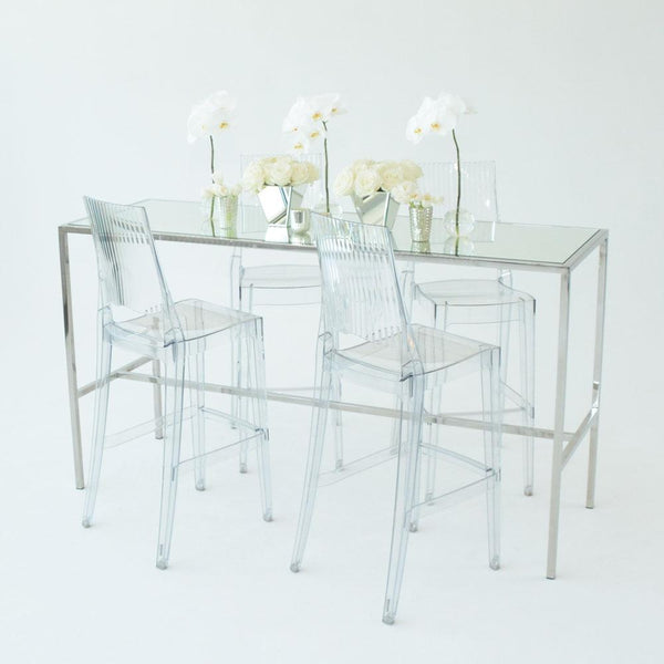 Chrome Runner Table with Mirror top with 4 clear stools