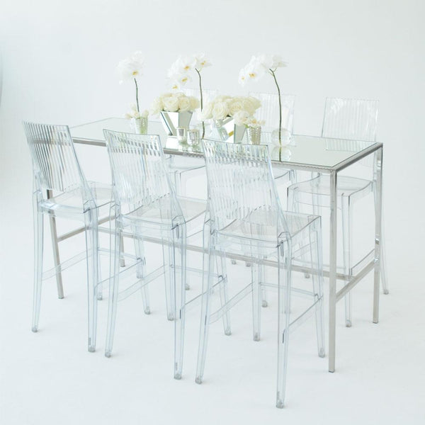 Chrome Runner Table with Mirror top with 6 clear stools