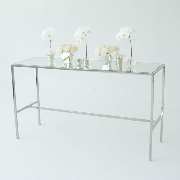 Chrome Runner Table with Mirror top