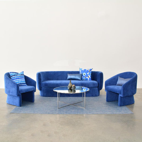 Soren Sofa shown with Sven Chairs Sapphire