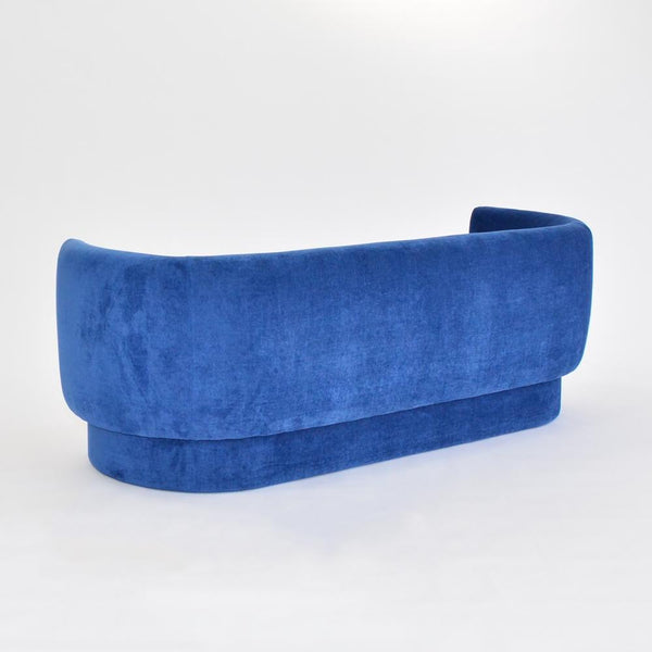 Rear view of curved Soren Sofa Sapphire