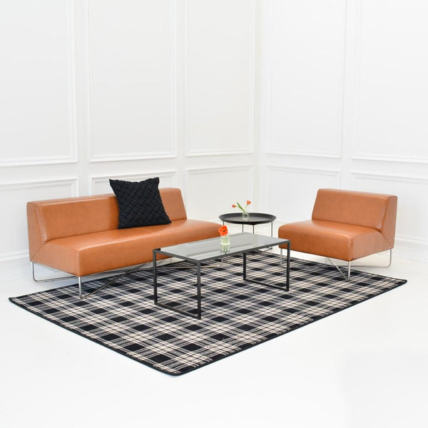 st andrews plaid rug with balance sofa and chair in saddle